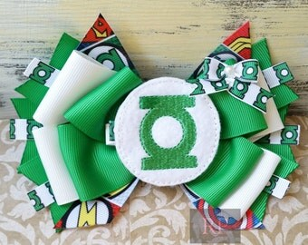 Stacked Boutique Hairbow with Green Lantern Felt Clip Center - DC Comic Hair Clip - ComicCon Hand Sewn Bow - Superhero - RTS (Ready to Ship)