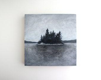 Adirondack Island Painting - 8 x 8