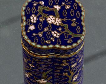 Vintage 60's Cloisonne Trinket Jar Dark Blue Flowers and Birds