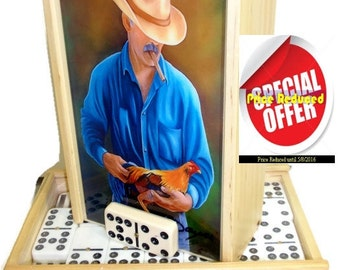 ON SALE  Dominoes Set double Nine with Artwork. Paintings by Daysi