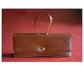 SALE / vintage 1960s Palizzio brown leather handbag