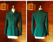 SALE / vintage 1940s blazer / 40s green wool double breasted jacket / size small medium