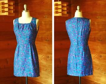vintage 1960s dress / 60s Georgia Wells blue silk watercolor floral print mini dress / size small