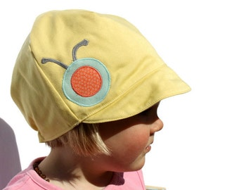 Girls Spring Hat, Toddler Hat,  Reversible Bug Hat, Yellow Hat, Hearts, Baby Toddler or Child Hat, XXS XS S M L