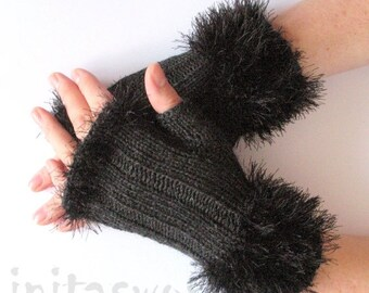 Fingerless Gloves Dark Gray Arm Warmers Mittens 7 inch Knit, Wool Acrylic