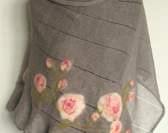 Linen Shawl Cape Clothing Natural Gray Pink Roses Flowers Felted Wool mothers day gift