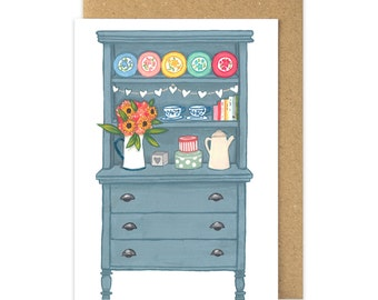 Welsh Dresser Card. Slate Blue Chalk Painted Dresser. Shabby Chic China. Welsh Greetings Card