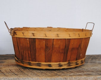 Vintage Round Half Bushel Wood Split Basket with Wire Handles Outdoor Decor