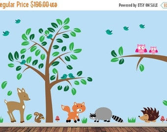20% OFF SALE REUSABLE Forest Wall Decal - Reusable Wall Decal - J220Swa
