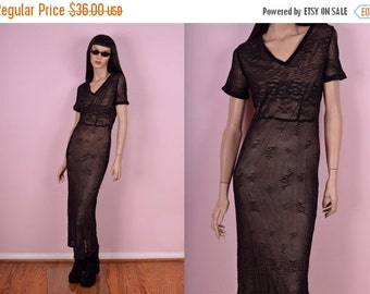 SUMMER SALE 90s Black Mesh Dress