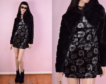 90s Black Faux Fur Bolero Jacket