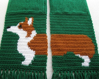 Corgi Dog Scarf.  Emerald green, crochet scarf  with Welsh corgi dogs. Knit dog scarf. Scarves with Pembroke welsh corgis
