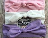 Girl Knot Turban Headband Set - Newborn/Infant/Toddler/Adult - Photography Prop- Pink White and Purple Knot Headband set- Baby Shower gift