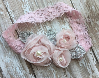 Mini Baby Pink Rosette Applique Headband-Newborn/Infant/Toddler/Adult- Photo Prop