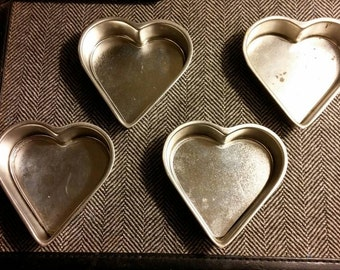 Cake Tins, Heart Shaped Cake Tin, Mini Cake Tins, Set of 4 Tins, Valentine Tin, Heart Tins, Tart Tins, Cooking Tins, Baking Tins