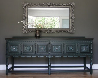"SOLD***   Large Antique Ornate Buffet, Sideboard, Entry Table teal green, Dark Stained Top ""Godzilla"" Modern Vintage"