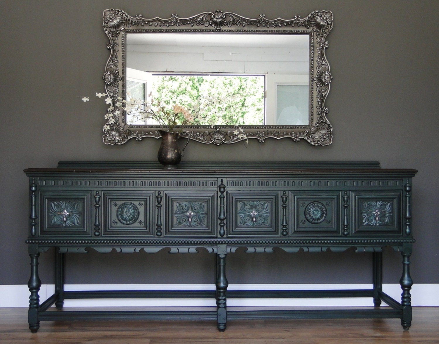 SOLD Large Antique Ornate Buffet Sideboard Entry by TRWpainted