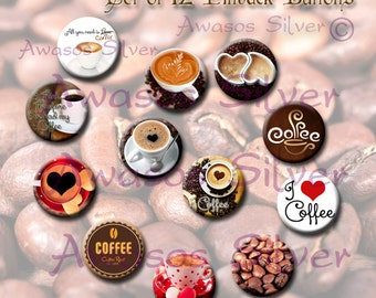 Coffee pin back buttons. 1 inch buttons. Coffee button set of 12
