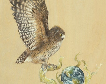 GICLÉE PRINT with gold embellishment: Earth Series - Blakiston's Fish Owl