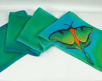 """Painted silk scarf. Luna Moth silk scarf. 8x52"""". Silk scarf handpainted. Handpainted silk scarf~Painted silk scarves~Hand painted silk scarf"""