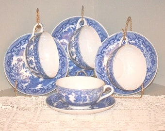 Vintage Blue Willow Kaolin Cups Saucers