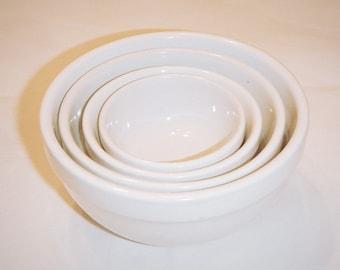 Bali White Ceramic Bowls Vintage Set of Four Small Kitchen Bowls