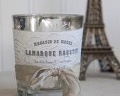 Votive candle holder decorative votive vintage french candle holder french label mercury glass votive holder by My Sweet Maison.
