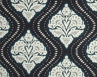 "Two 96"" x 50""  Custom LINED Curtain Panels   Floral -  Robert Allen Dwell Studio Kavali Ogee Midnight"