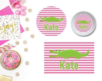 Alligator Pink Plate/Bowl/Placemat . Personalized Plate . Girls Plate . Personalized Placemat . Alligators . Preppy Placemat  . Preppy Plate