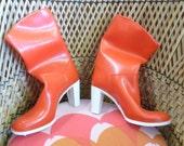 Vintage 1970s RUBBER Boots RIGON Lola High Heels Black Unused in Box Italian Fashion Size 7 UK 40 Europe