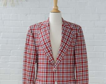 Valentine Red Plaid Checkered Suit Blazer Jacket for Men Structured Sport Coat / XL Large Size - 'Sibleys Store for Men' New York