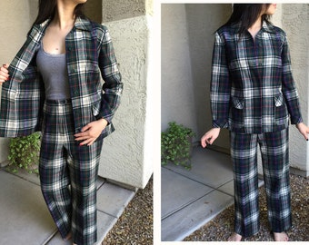 Pendleton pantsuit plaid tartan pants Pendleton jacket womens green navy winter white 1960s 1970s size 12