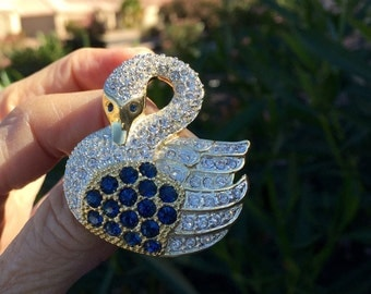 Rhinestone swan brooch vintage LARGE pave signed Roman Swarovski quality clear and sapphire rs gold tone wash