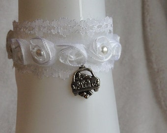 Brides honeymoon  handmade  ankle bracelet 7 1/2 inches long. Charm says just married