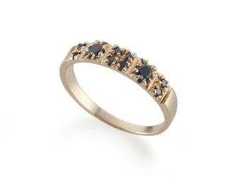 14K Gold Ring - Black Diamonds Pinky Gold Ring - Multistone Gold Ring - Small Black Diamonds Set - Delicate Geometric Design For Women