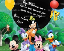 Mickey Mouse Clubhouse Thank you Card, Minnie Mouse Party, Toodles Thank you Note