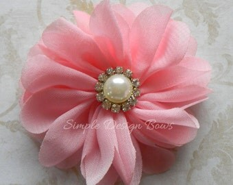 "Pink Hair Flower - Salmon Flower Clip - Hair Clip or Brooch - 2"" EMILY FLOWER"