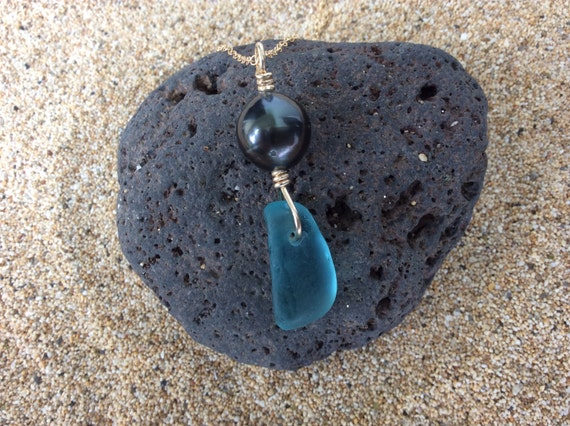 RARE Deep Aqua Blue Surf Tumbled Seaglass, Beachglass, Black Tahitian Pearl, 14k Gold Filled Chain Necklace