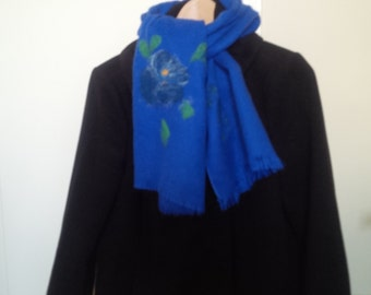 Spring sale, textile scarf, nunofelted, floral, felted wool decoration, eye-catching accessory,cobalt blue, birthday gift idea, neck warmer