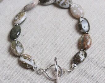 Rustic Ocean Jasper Oval Beaded Bracelet with Artisan Sterling Silver Infinity Twist Toggle