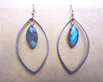 Sterling silver marquise shape earrings with labradorite gemstones. Unique minimal sexy hand hammered sterling silver women's earrings.