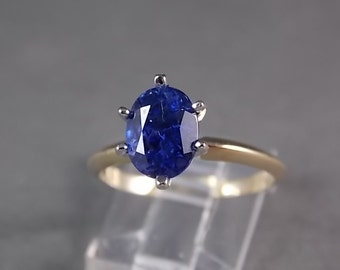 Sapphire Solitaire Ring 2.33 Carats Two Tone Gold 14K 3.1gm Size 7.5 Engagement Wedding