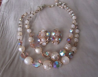 Vintage 2 Strand Gold Aurora Borealis Crystal Necklace & Matching Clip Earrings with speckled Gold and frosted Beads