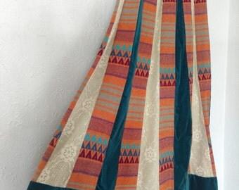 1970s Chessa Davis Patchwork Maxi Skirt Velvet Lace Woven