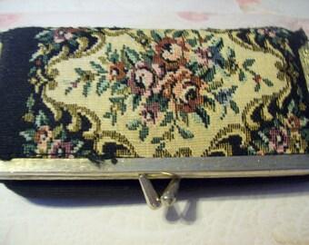 Vintage Needlepoint Makeup Bag, Vintage Cosmetic Bag, Vintage Purse, Vintage Bag