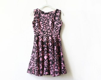 pink black floral sleeveless mod vintage dress