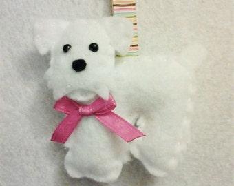 Miniature Schnauzer Key Chain - Miniature Schnauzer - Felt Dog - Dog Key Chain - White Dog - Key Chains - Stocking Stuffer - Pet gift