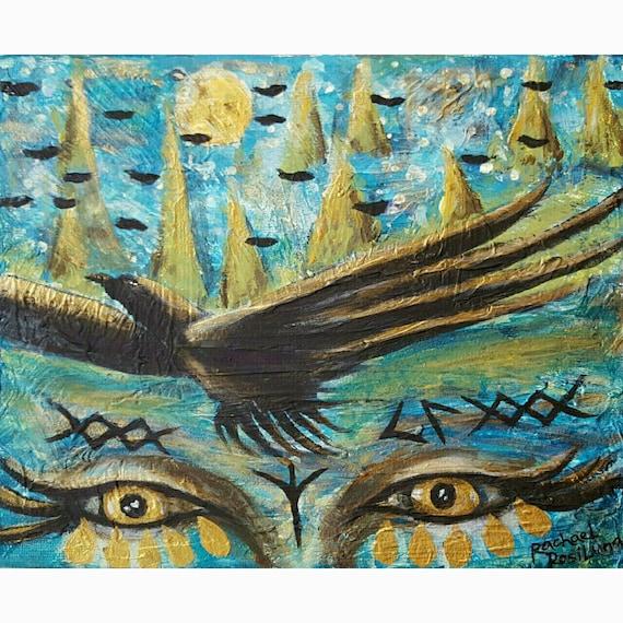 Freyas Tears Fine Art Print norse goddess gold teal metallic blue print