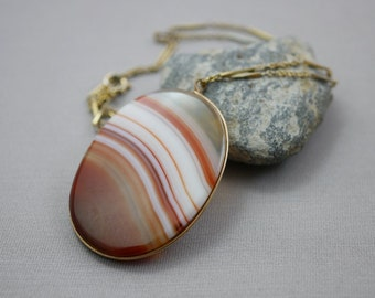Banded Agate Necklace Antique Victorian Agate Jewelry