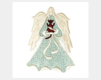 Lace Angel, Lace Angel with Cat, Angel with Fur Baby, Machine Embroiderd Angel